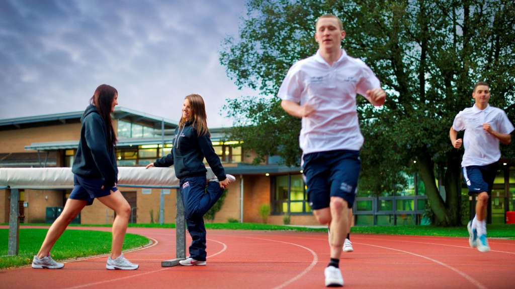 Students on the Edge Hill running track.