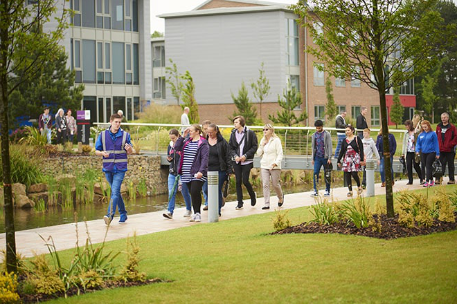 Students taking a tour around campus on one of our open days